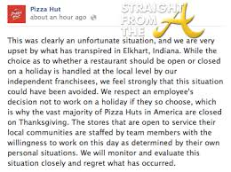 pizza hut manager fired for refusing to open thanksgiving day