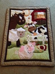 nojo farm babies crib quilt barnyard animals cow chicken pig sheep