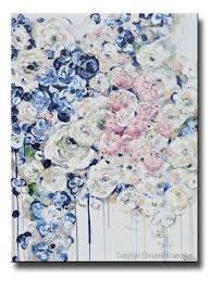 original art abstract painting floral navy blue white pink flowers
