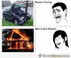 Woman Kitchen Meme - meme comics women driving vs men in the kitchen