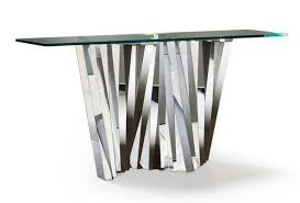 stainless steel console table shard stainless steel and glass console table