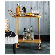 metal wood and leather bar cart gold threshold target