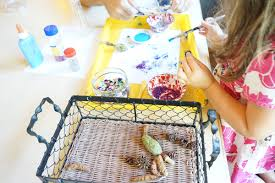 creative table making with glitter natural objects tinkerlab