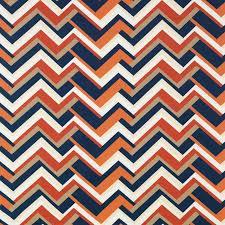 Custom Drapery Fabric Blue Orange Upholstery Drapery Fabric Large Scale Chevron