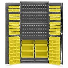 uline rolling tool cabinet bin storage cabinet with 48 wide shelves 168 clear bins h 2488c