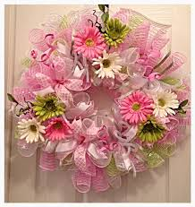 pink deco mesh wreath wreath easter wreath pink