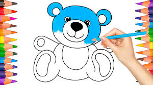 how to draw and color teddy bear coloring book pages video for