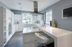 White Kitchen Cabinets With Gray Walls Innovative White And Gray Kitchen On Grey Calcutta And Mirrors