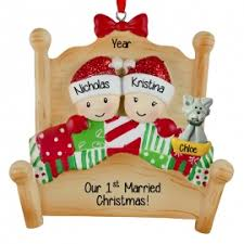 our 1st married bed cat ornament personalized