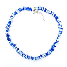 blue shell necklace images Hawaiian blue tie dye square cut puka shell necklace with lobster jpg