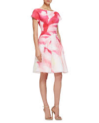 watercolor cocktail carolina herrera pleated watercolor print cocktail dress lyst