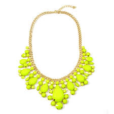 yellow gemstone necklace images Neon yellow teardrop gemstone bib necklace jpg