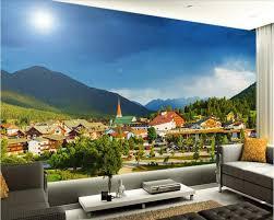 la chambre ville personnalisé mural 3d papier peint de la chambre ville de montagne