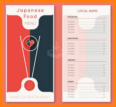 8 food menu template acknowledge form