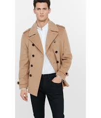 express wool blend camel double breasted peacoat in brown for men