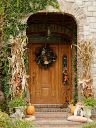 front door fall decorating ideas bright colored doors istock