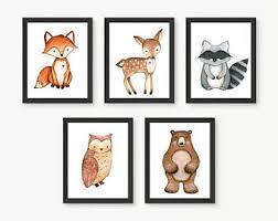 woodland animal prints woodland nursery decor fox printable