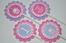 Cake Decorations For 1st Birthday 12 U0027s 1st Birthday Cupcake Toppers Girls Birthday Party