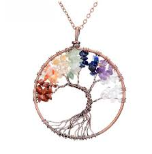 natural stone necklace pendant images 7 chakra tree of life pendant necklace copper crystal natural jpg