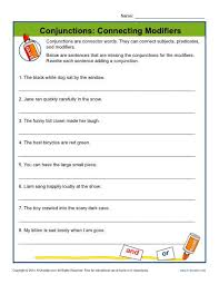 conjunctions connecting modifiers worksheets adverbs and