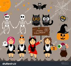 vector set characters halloween cartoon modern stock vector