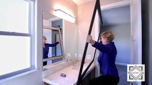 Frame Bathroom Mirror Kit by Framing A Bathroom Mirror How To Mirrorchic Com Youtube