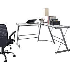 White Glass Desks by Ameriwood Home Odin Glass L Shaped Computer Desk Gray Walmart Com