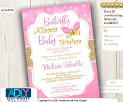 instant butterfly kisses and baby wishes invitation