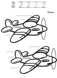 learn number 2 planes colouring happy colouring