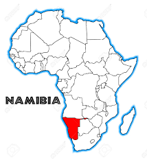 Namibia Map Namibia Outline Inset Into A Map Of Africa Over A White Background
