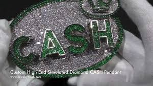 Custom Pendant High End Green And White Custom Simulated Diamond Cash King Large