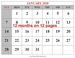 printable calendar pages free printable 2018 calendars download free 2018 12 month calendar