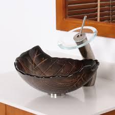 elite autumn leaves design tempered glass bathroom vessel sink