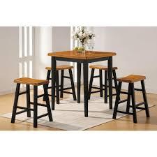 Oak Bar Table Acme Gaucho 5 Piece Oak And Black Bar Table Set 07285 The Home Depot