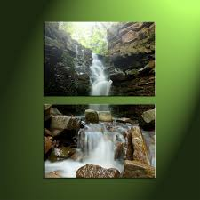 Forest Home Decor by 2 Piece Waterfall Green Scenery Large Canvas