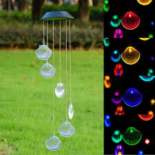 solar power led wind chime light color changing home garden