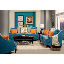 blue living room set furniture of america estella retro 3 piece peacock blue sofa set
