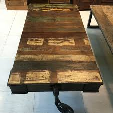 Wooden Coffee Table With Wheels by Wooden Coffee Table With Iron Frame U0026 Wheels