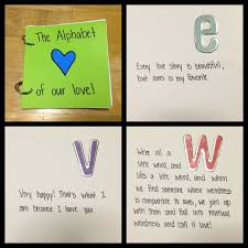 make an alphabet book of memories one for each letter the