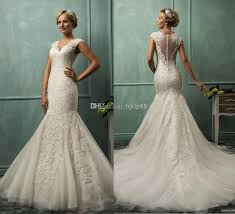dh wedding dresses v neck tulle applique pearl illusion backless mermaid wedding