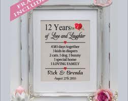 12 year anniversary gift for 12 year anniversary etsy