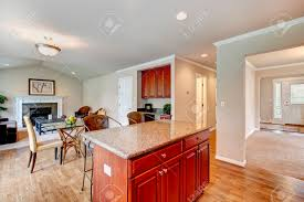 Cherry Wood Cabinets Kitchen Kitchen Room With Bright Cherry Wood Cabinets Dining Area With