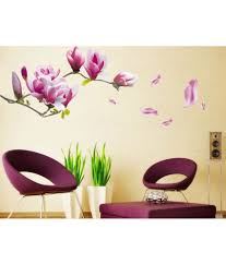 uberlyfe purple flowers wall stickers home decor size 55cm x