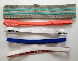 sport headband logo customized elastic stretch sport headband with rubber insider