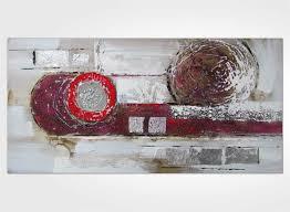 Tableau Triptyque Contemporain by Tableau Abstrait Gris Argent Et Rouge Framboise New Art Gallery