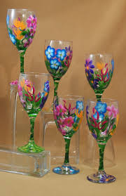 Hand Painted Wine Glasses Floral Barbara Pattern Set of 6