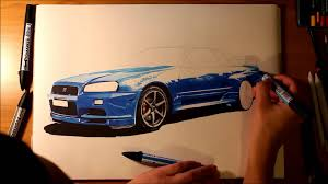 nissan gtr skyline drawing nissan skyline gtr r34 speed drawing by roman miah youtube