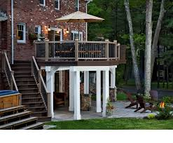 Backyard Deck And Patio Ideas by Upper Level Composite Deck Outdoor Lighting Stone Patio Fire