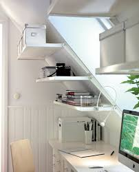 bookshelf and file cabinet storage shelves on sloping wall painted