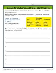 conjunctive adverbs and independent clauses conjunction worksheets